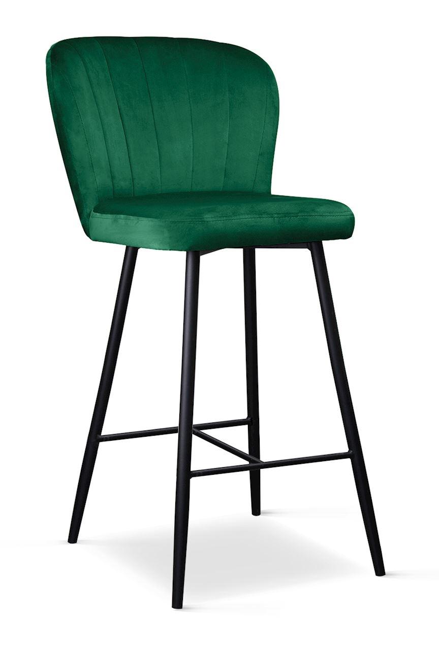Scaun de bar tapitat cu stofa cu picioare metalice Shelly Small Verde / Negru l50xA53xH96 cm