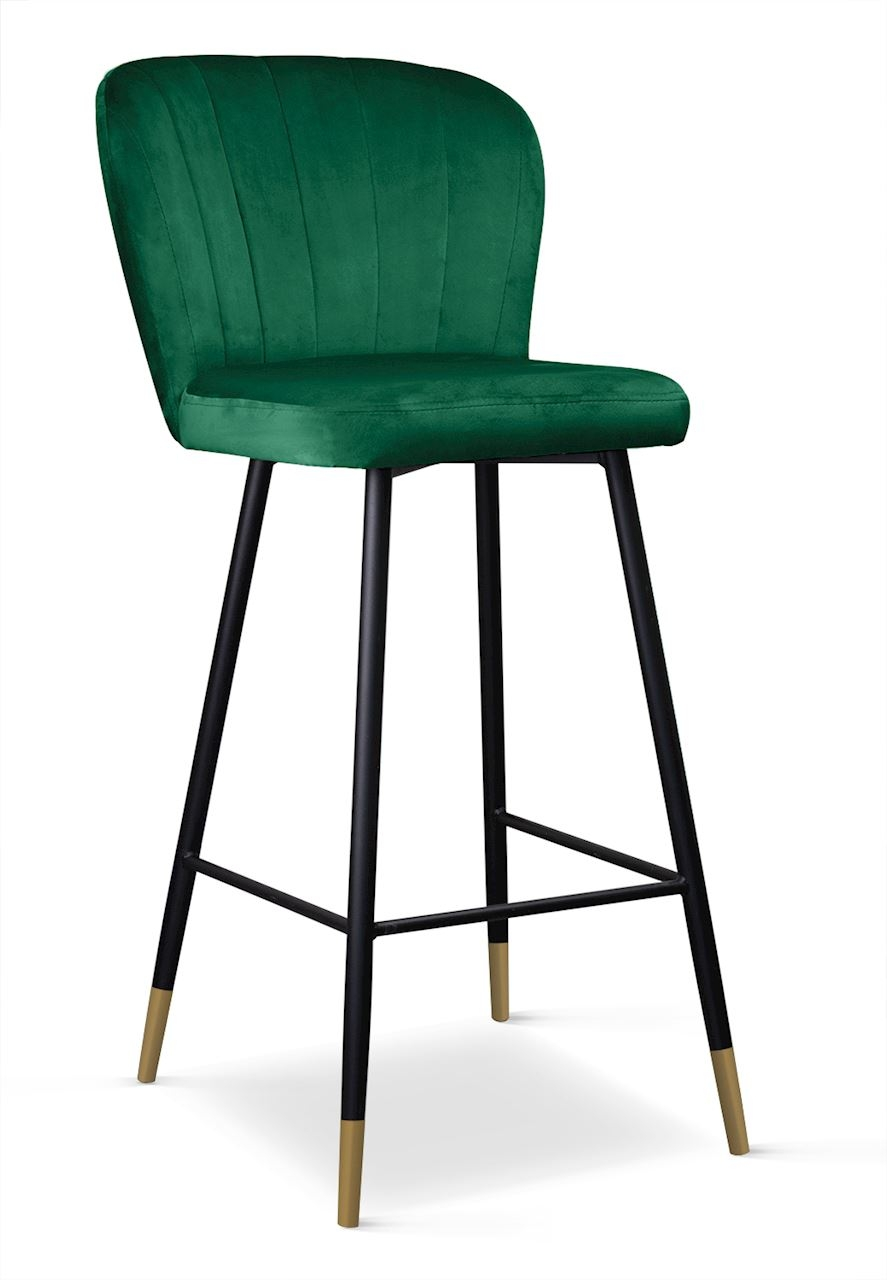 Scaun de bar tapitat cu stofa, cu picioare metalice Shelly Verde / Negru / Auriu, l50xA53xH106 cm