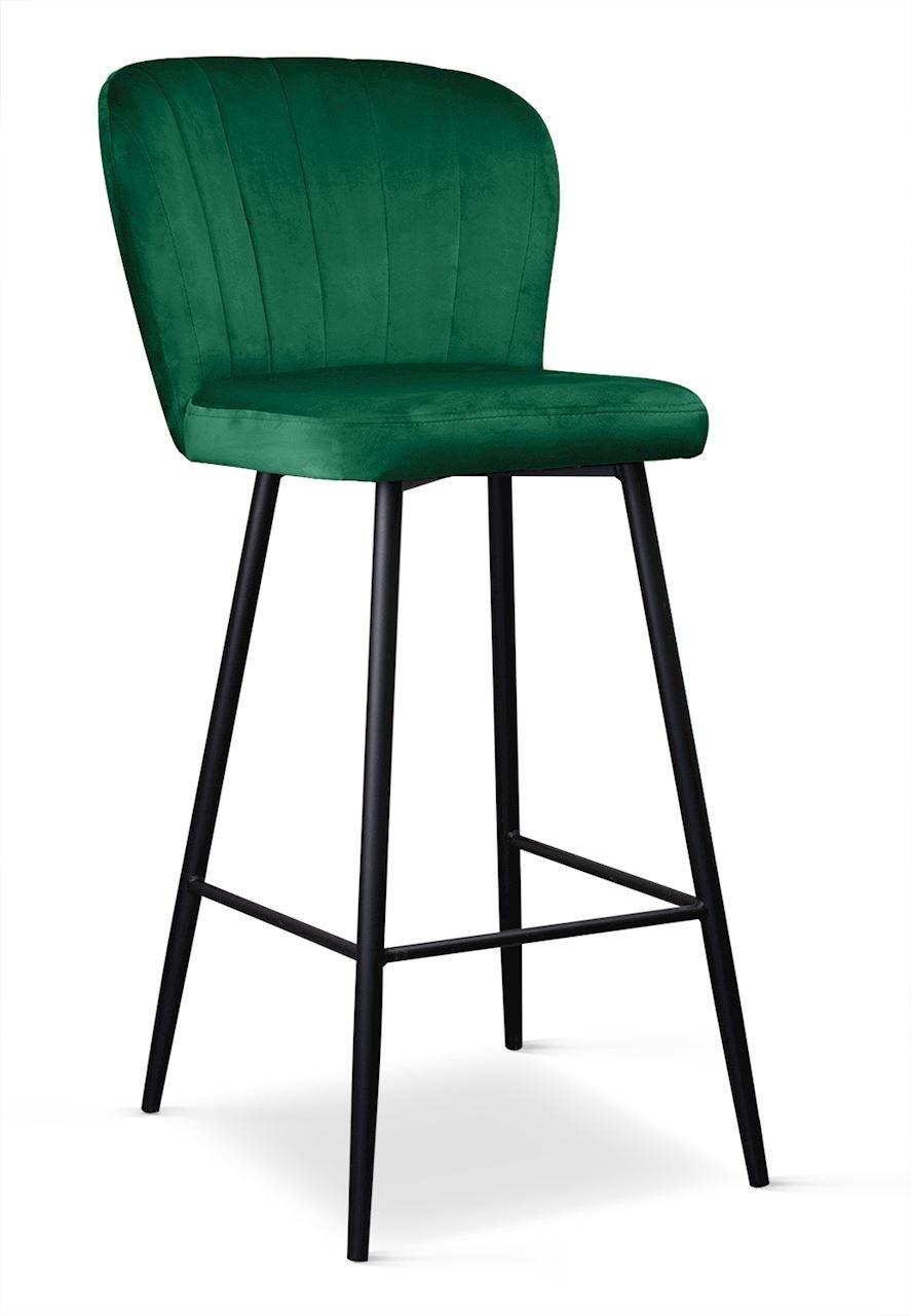 Scaun de bar tapitat cu stofa cu picioare metalice Shelly Verde / Negru l50xA53xH106 cm