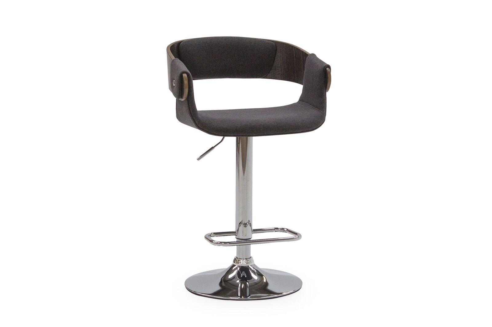 Set 2 scaune de bar tapitate cu stofa cu picior metalic Rita Charcoal l54xA40xH84 cm