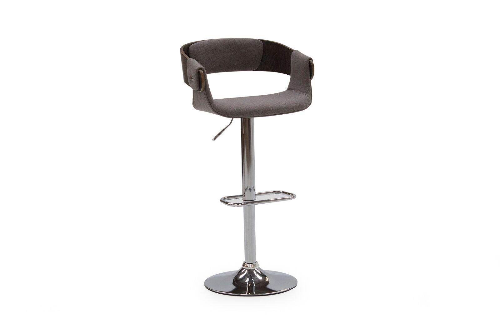 Set 2 scaune de bar tapitate cu stofa cu picior metalic Rita Grey l54xA40xH84 cm