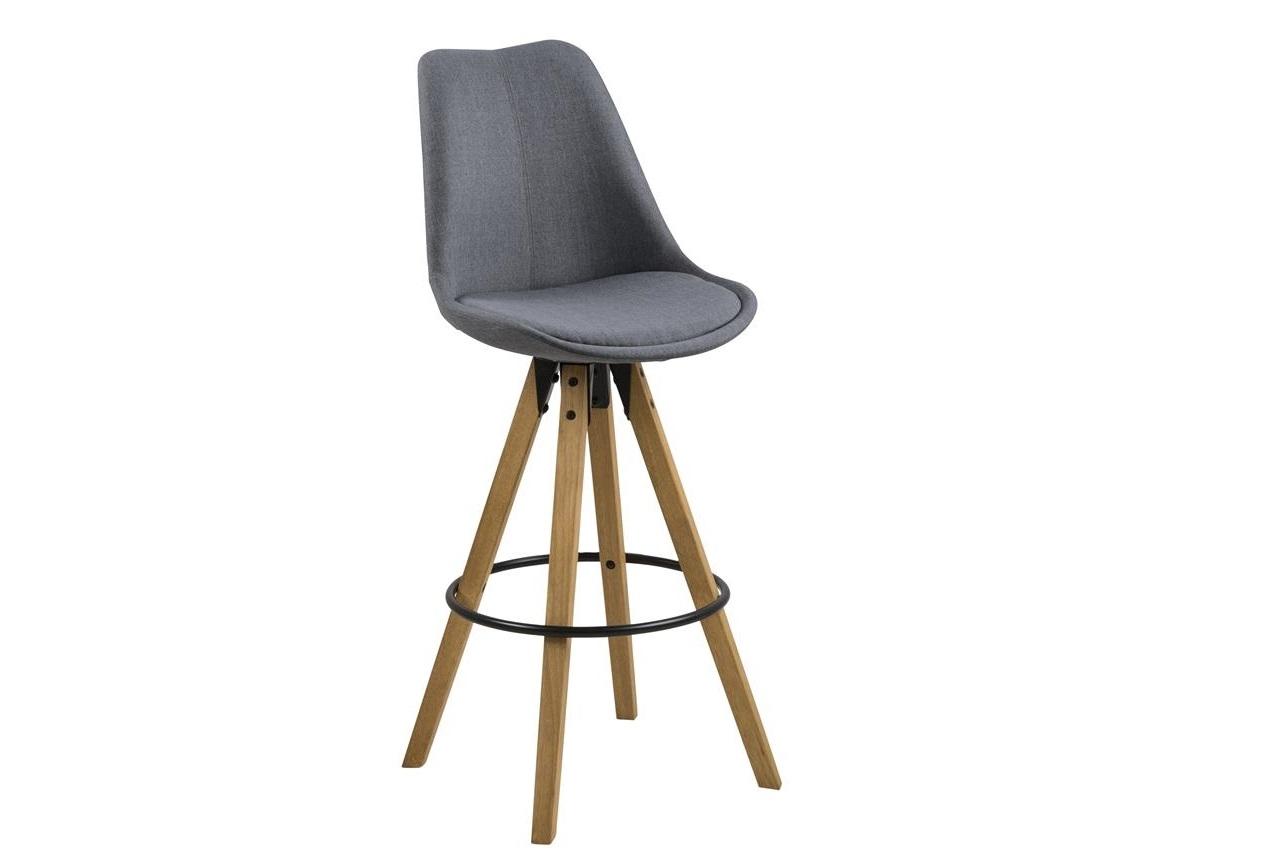 Scaun de bar tapitat cu stofa si picioare din lemn Dima Gri Inchis / Stejar, l48,5xA55xH111,5 cm somproduct.ro