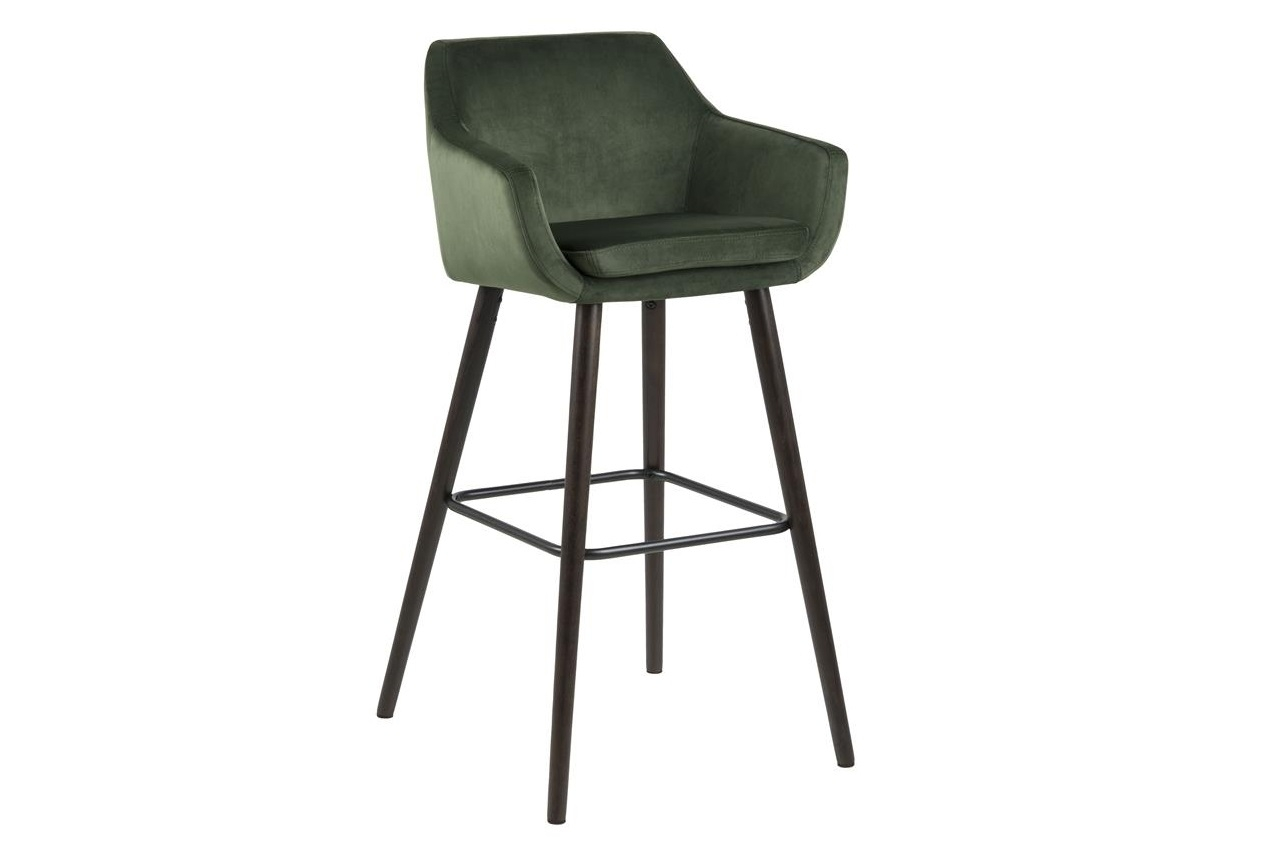 Scaun de bar tapitat cu stofa si picioare din lemn Nora Velvet Verde / Maro Inchis, l55xA54xH101 cm imagine