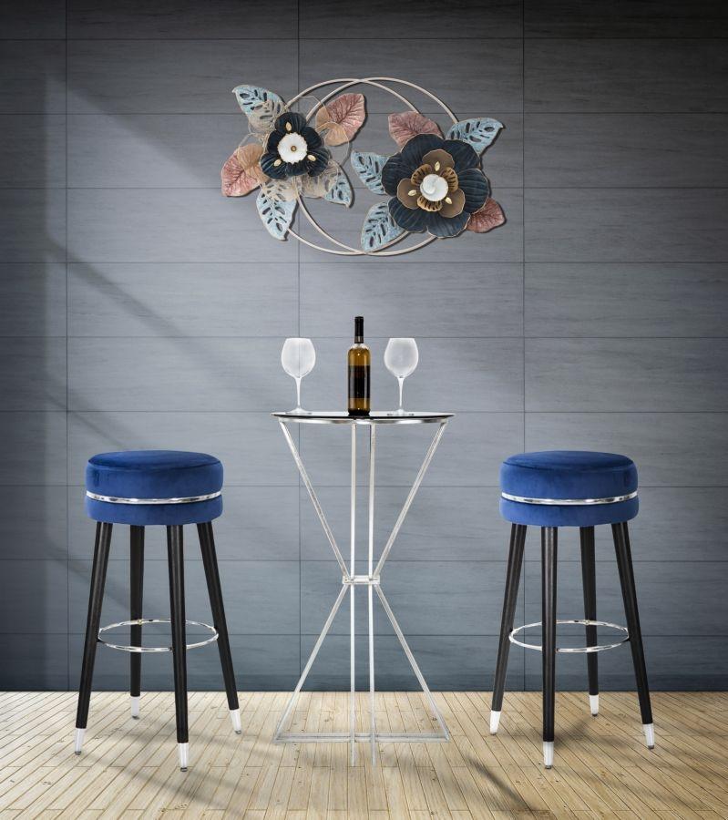 Scaun de bar tapitat cu stofa si picioare din lemn Paris Albastru / Argintiu, Ø35xH74 cm poza