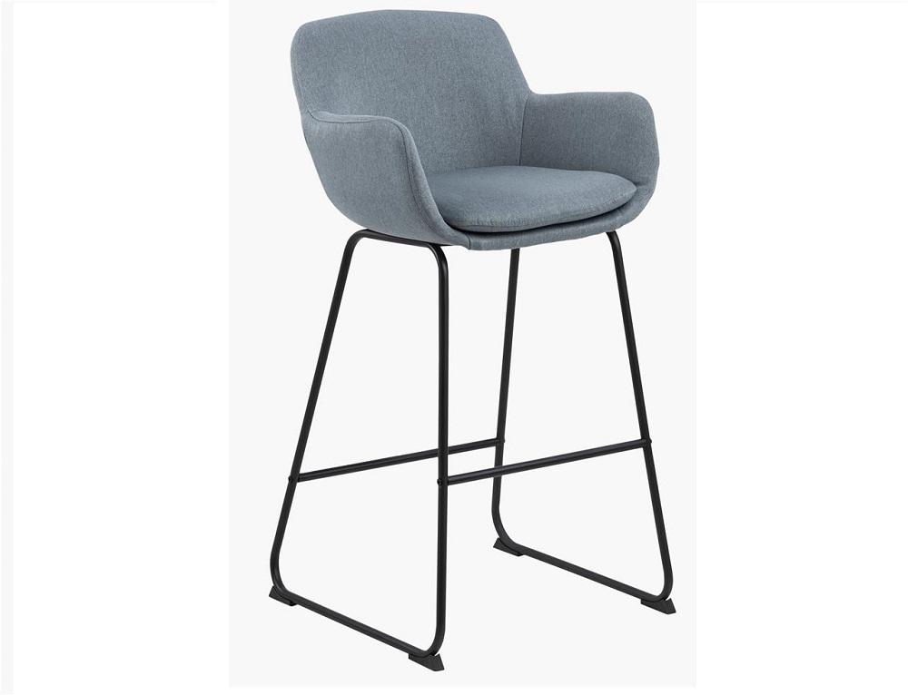 Scaun de bar tapitat cu stofa si picioare din metal Lisa Albastru Deschis / Negru, l52xA53xH100 cm