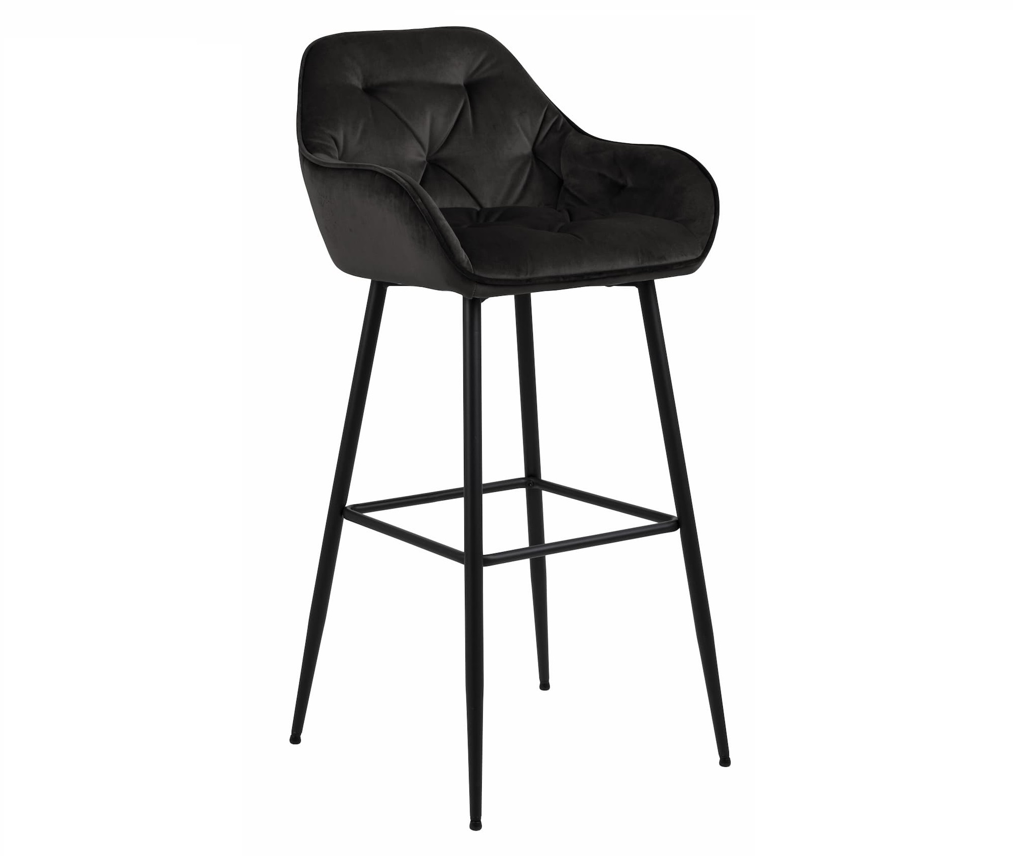 Scaun de bar tapitat cu stofa si picioare metalice Brooke Velvet Grafit / Negru, l55xA52xH103,5 cm vivre.ro