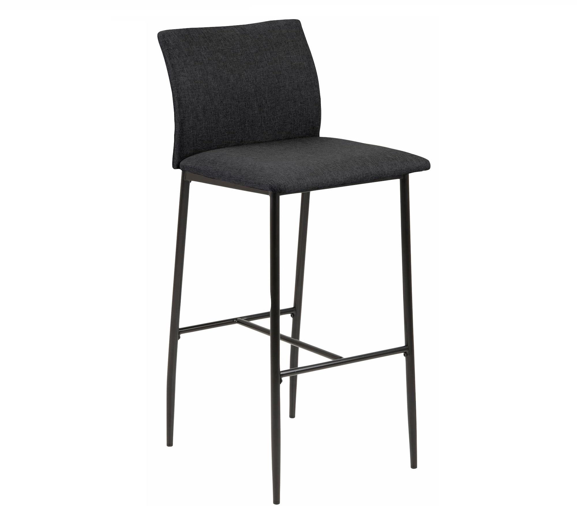 Scaun de bar tapitat cu stofa si picioare metalice Demina Gri inchis / Negru, l41,5xA50xH100,5 cm vivre.ro