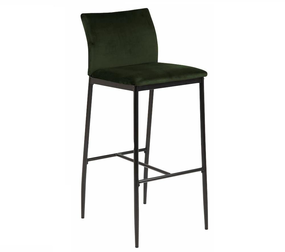 Scaun de bar tapitat cu stofa si picioare metalice Demina Verde Olive / Negru, l41,5xA50xH100,5 cm somproduct.ro