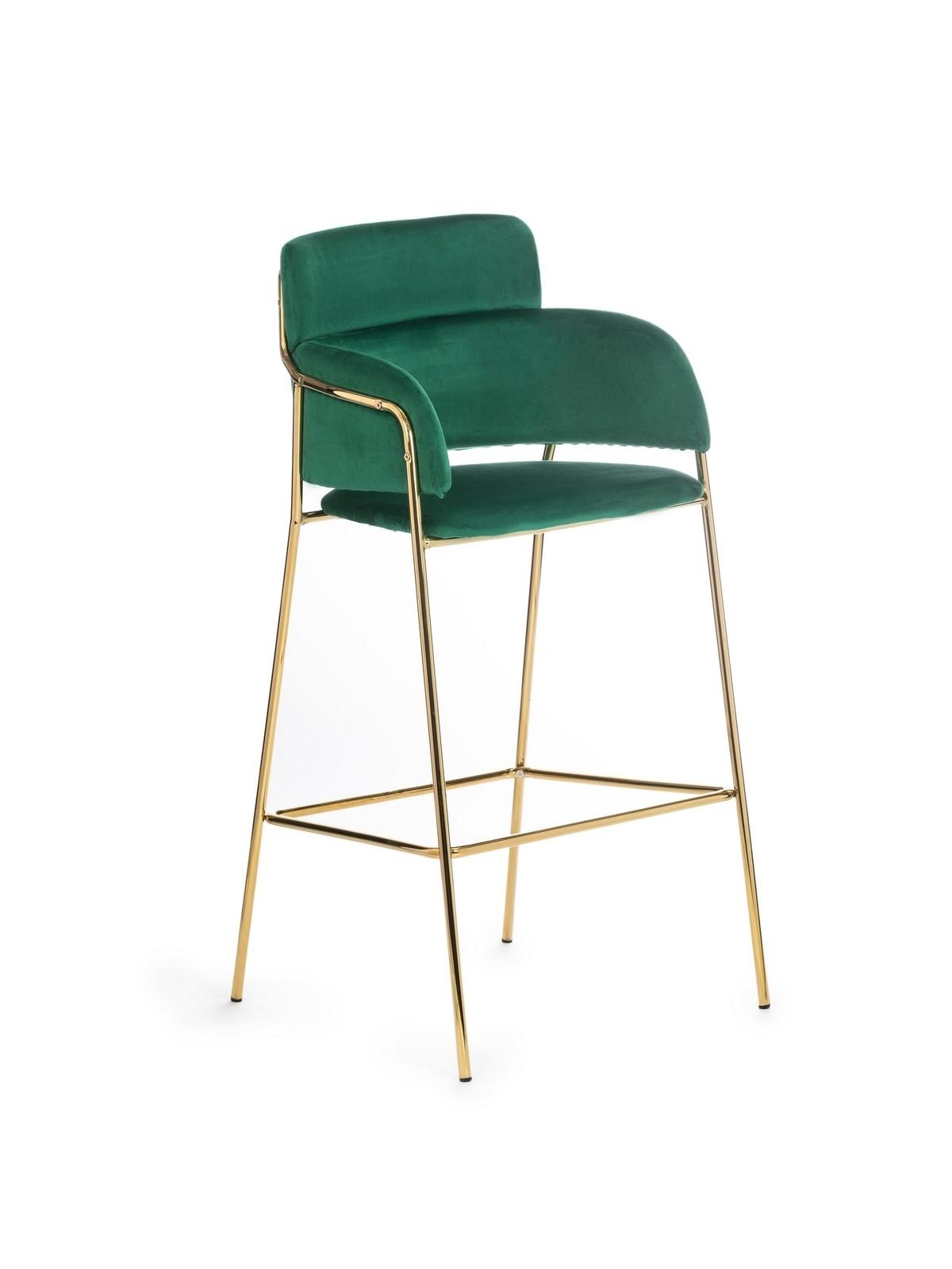 Scaun de bar tapitat cu stofa si picioare metalice Vera Verde, l47xA43H106 cm imagine