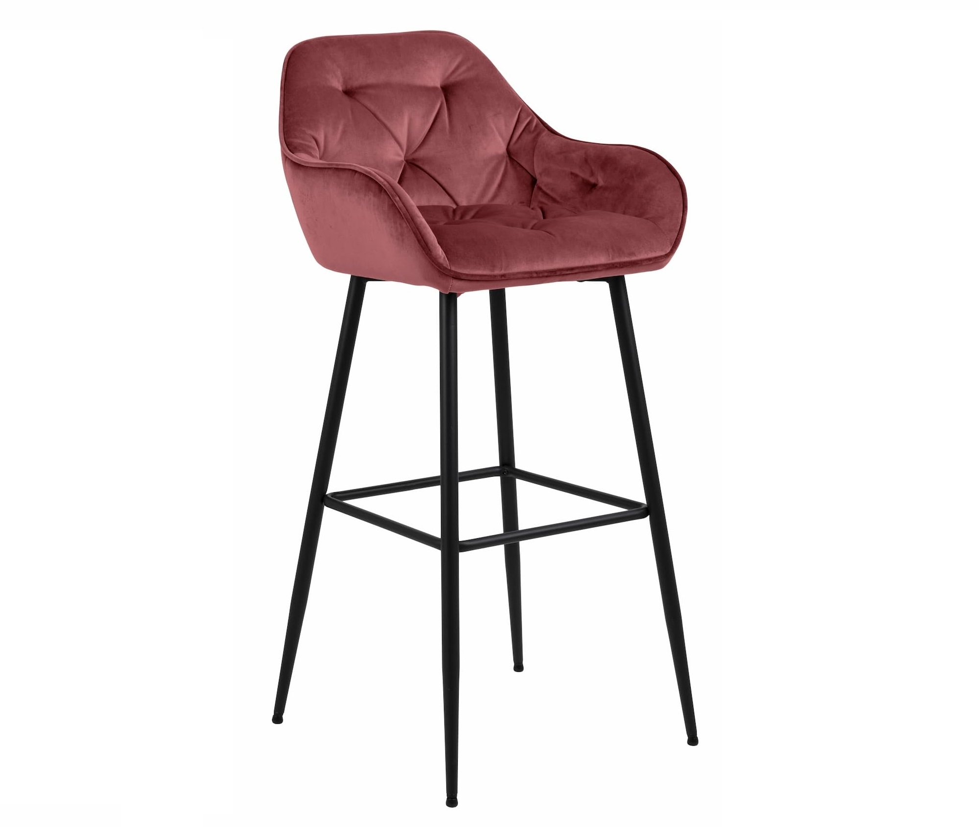 Scaun de bar tapitat cu stofa si picioare metalice Brooke Velvet Roz Inchis / Negru, l55xA52xH103,5 cm