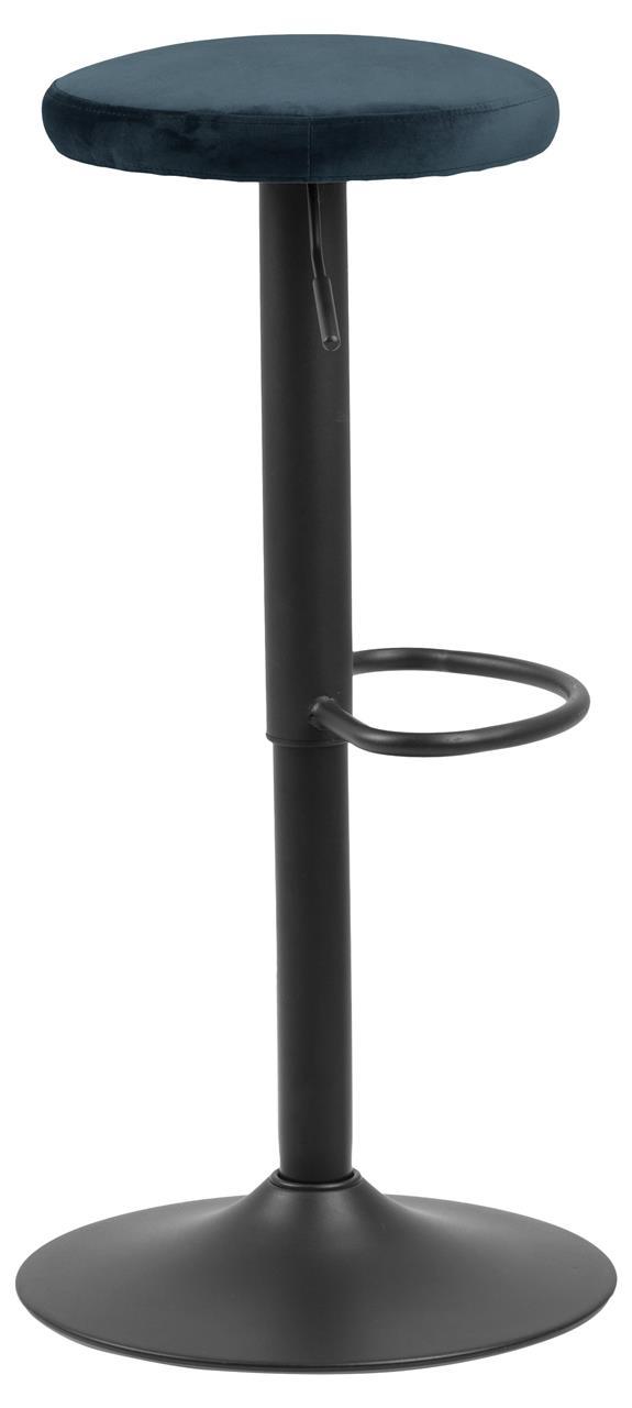 Scaun de bar tapitat cu stofa si picior metalic Finch Velvet Albastru inchis / Negru, l40xA40xH82 cm poza