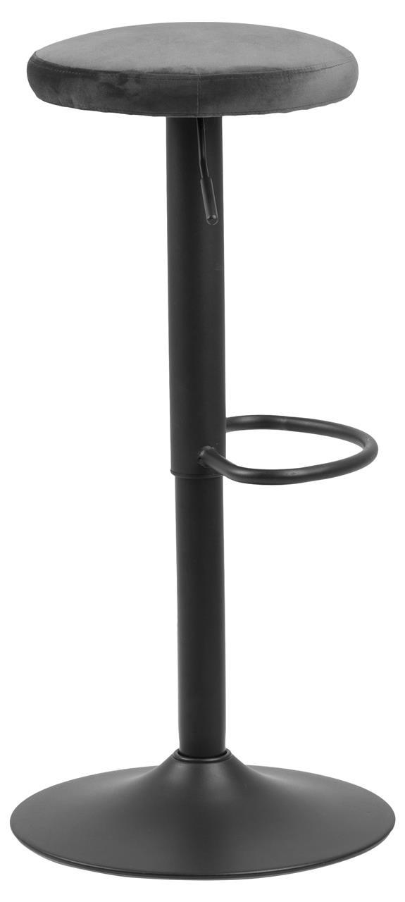 Scaun de bar tapitat cu stofa si picior metalic Finch Velvet Gri Inchis / Negru, Ø40xH80 cm imagine