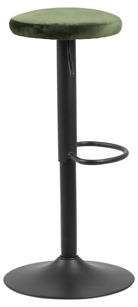 Scaun de bar tapitat cu stofa si picior metalic Finch Velvet Verde / Negru, l40xA40xH82 cm