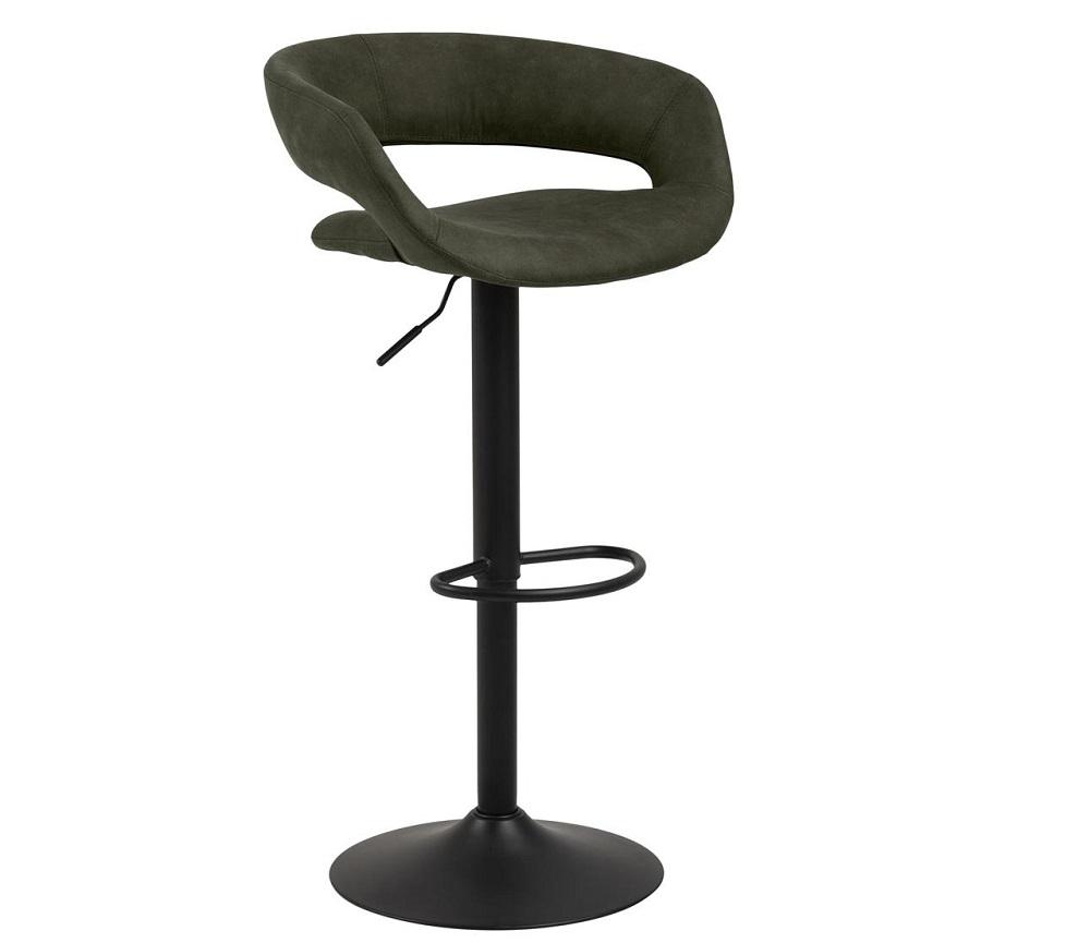 Scaun de bar tapitat cu stofa si picior metalic Grace Verde Olive / Negru, l54,5xA48,5xH104 cm