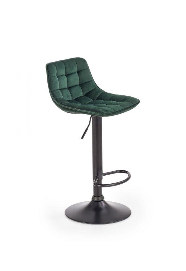 Scaun de bar tapitat cu stofa si picior metalic H-95 Verde inchis, l43xA44xH84-106 cm