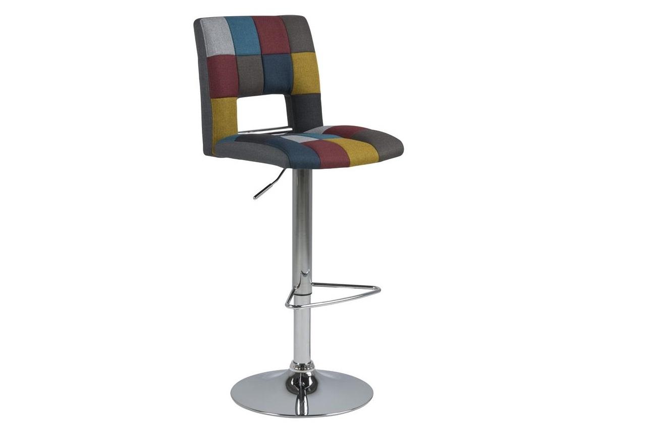 Scaun de bar tapitat cu stofa si picior metalic Sylvia Multicolor / Crom, l41,5xA52xH115 cm