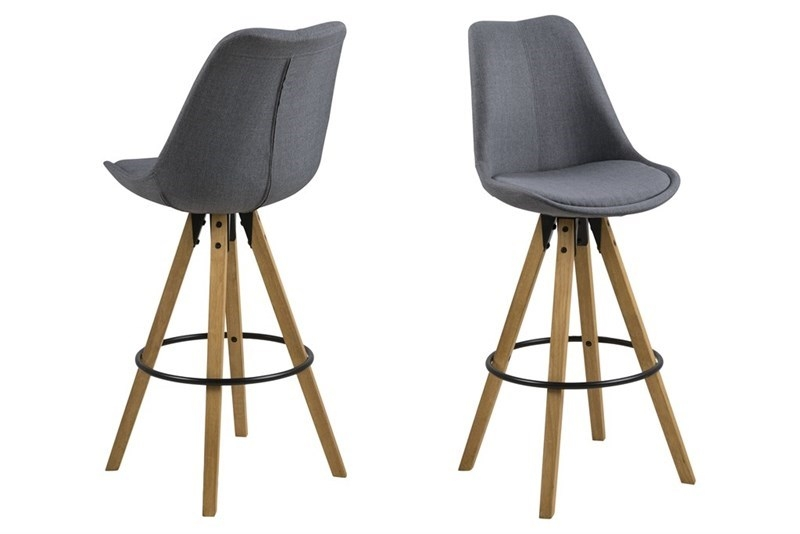 Set 2 Scaune de bar tapitate Dima Dark Grey/Oak
