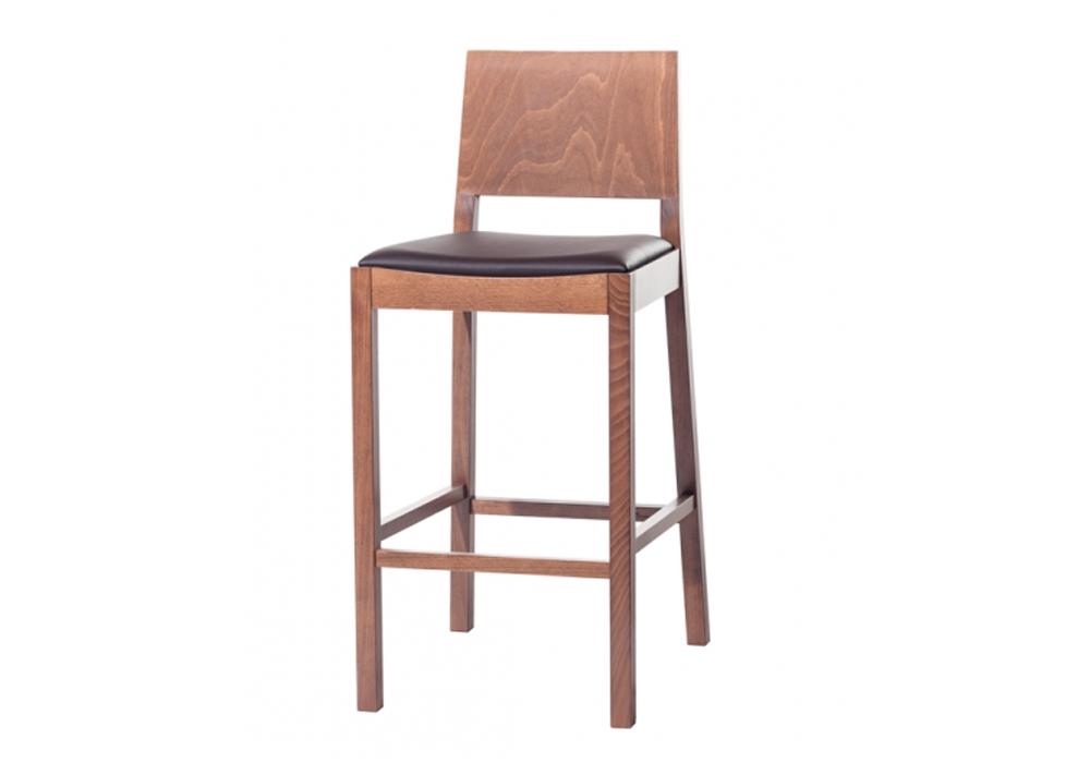 Scaun de bar din lemn de fag, tapitat cu piele ecologica Lyon Walnut / Brown 515, l44xA53xH102 cm