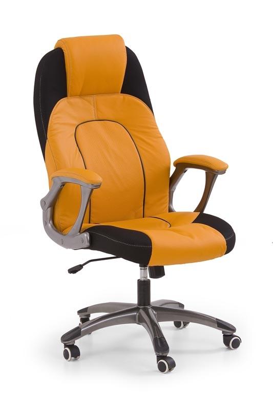 Scaun de birou directorial tapitat cu piele ecologica si stofa Viper Orange / Black, l62xA74xH123-131 cm vivre.ro