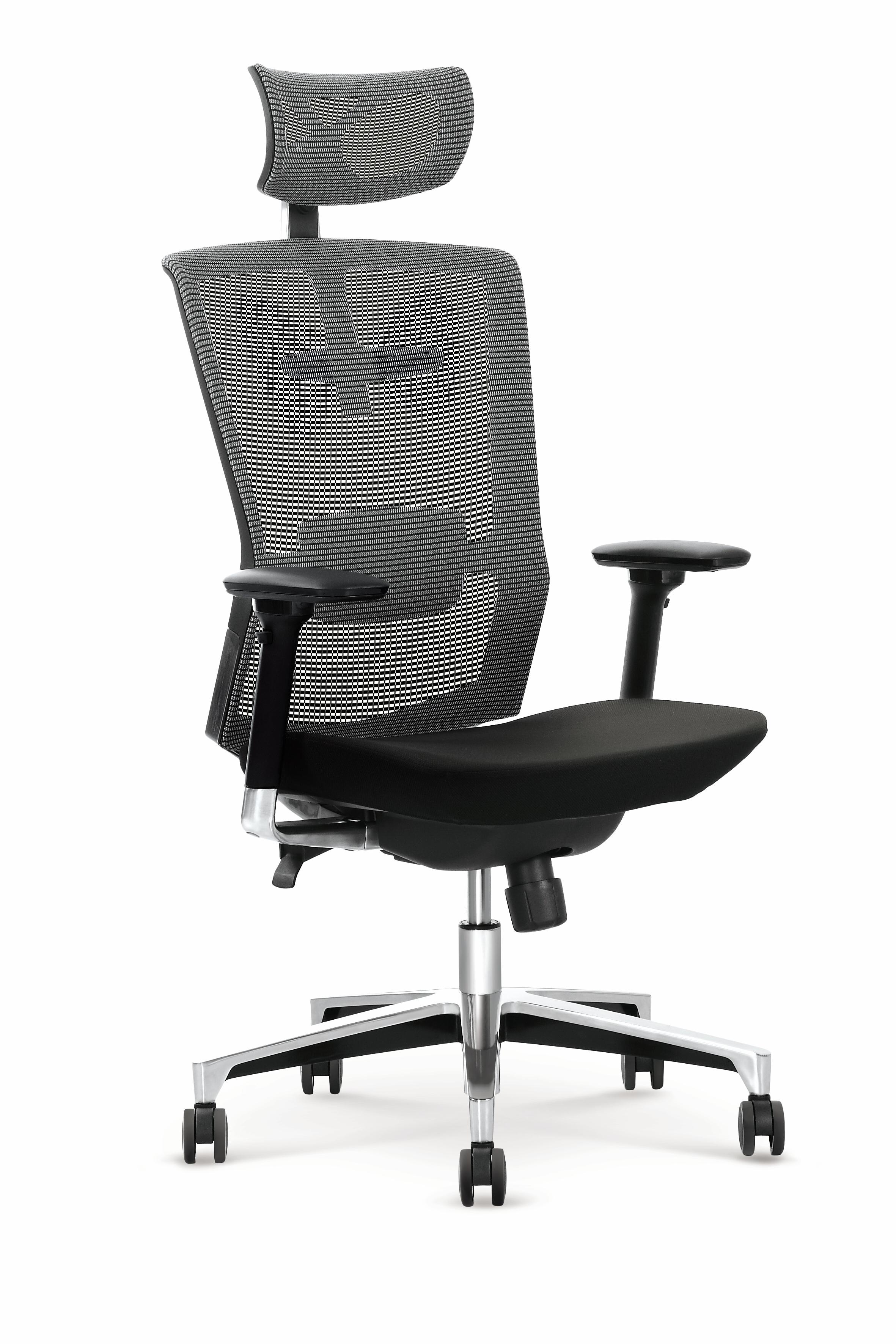 Scaun de birou ergonomic tapitat cu stofa Ambasador Gri / Negru, l64xA63xH120-130 cm