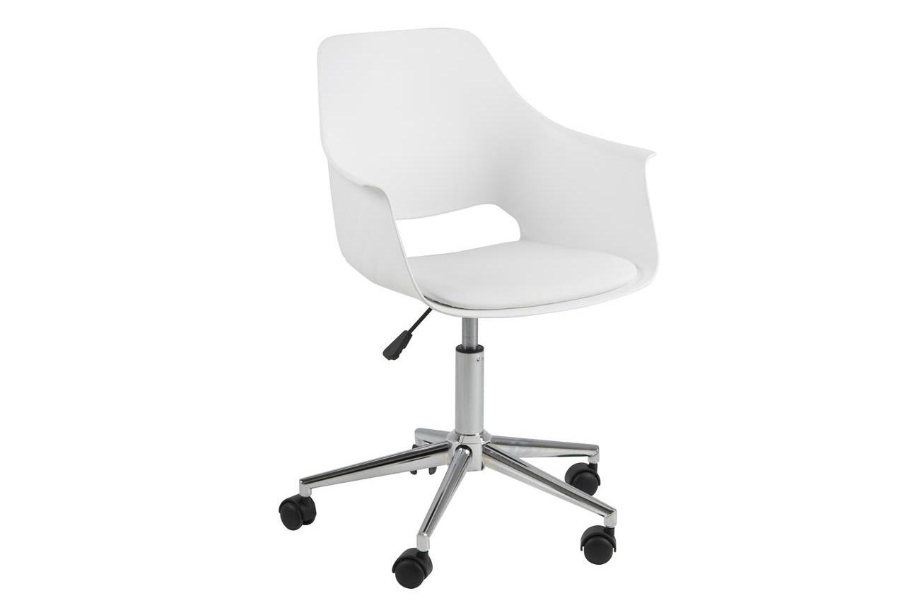 Scaun de birou ergonomic din plastic si sezut tapitat cu piele ecologica Ramona Alb, l57xA52xH93 cm