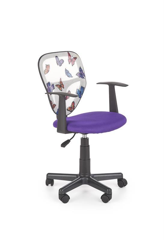 Scaun de birou pentru copii, tapitat cu stofa Spiker Mov, l52xA50xH80-91 cm
