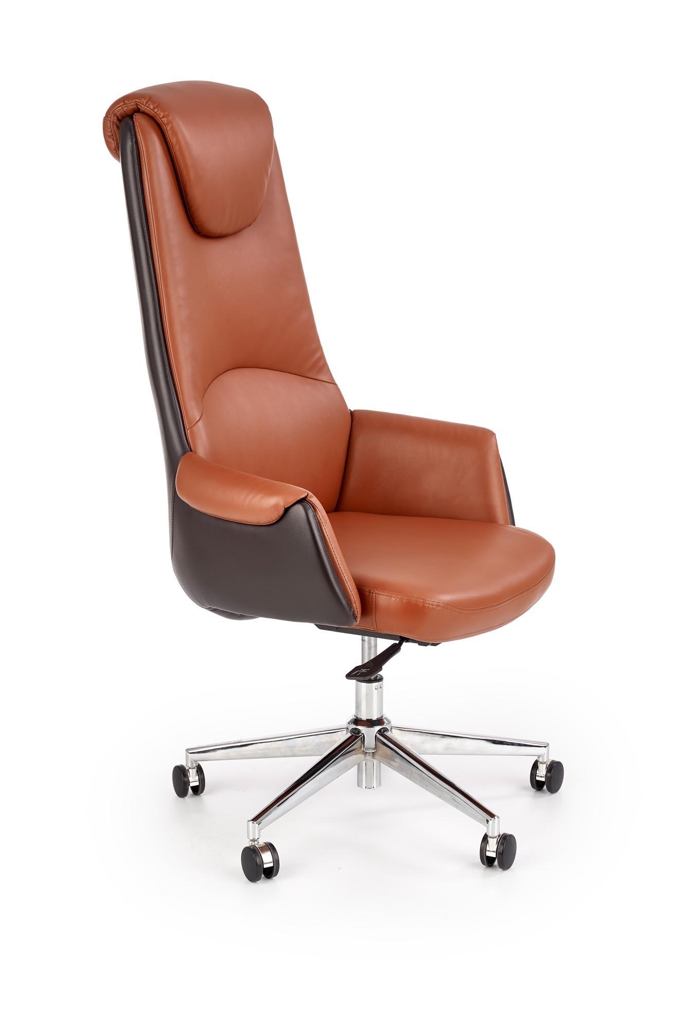 Scaun de birou ergonomic tapitat cu piele ecologica Calvano Maro, l73xA73xH120-130 cm