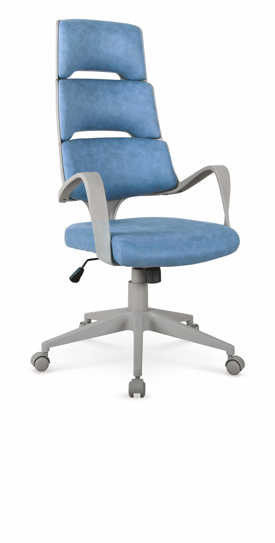 Scaun de birou ergonomic, tapitat cu piele ecologica Calypso Albastru / Gri, l62xA62xH117-127 cm