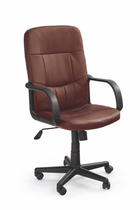 Scaun de birou ergonomic, tapitat cu piele ecologica Denzel Maro inchis, l58xA60xH100-110 cm
