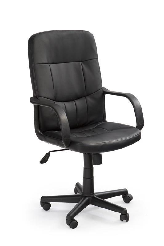 Scaun de birou ergonomic, tapitat cu piele ecologica Denzel Negru, l58xA60xH100-110 cm