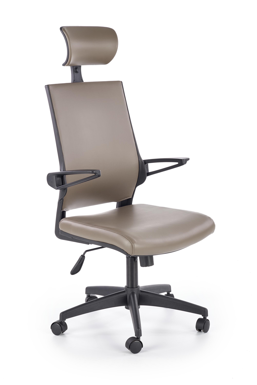 Scaun de birou ergonomic, tapitat cu piele ecologica Ducat Gri, l58xA67xH120-130 cm poza