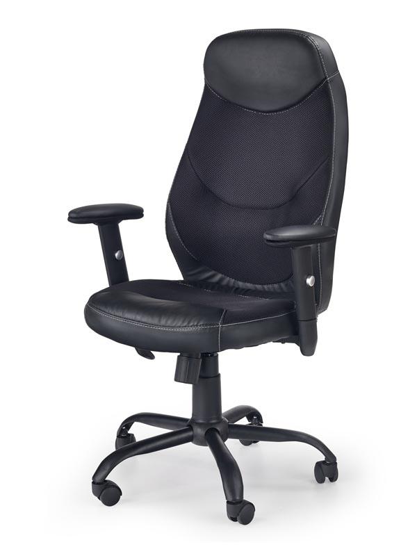 Scaun de birou ergonomic, tapitat cu piele ecologica Georg Negru, l64xA64xH106-117 cm imagine