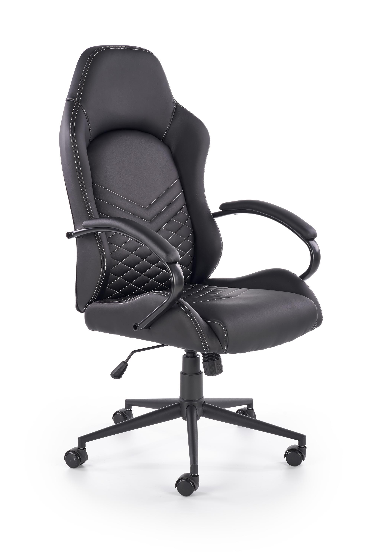 Scaun de birou ergonomic, tapitat cu piele ecologica Lifan Negru, l62xA68xH119-127 cm poza