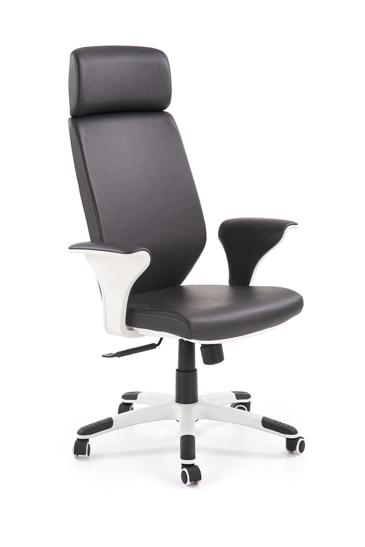 Scaun de birou ergonomic tapitat cu piele ecologica Lonatti Negru / Alb l75xA64xH117-126 cm