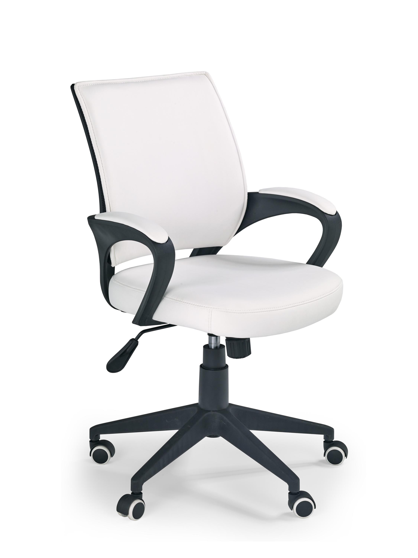 Scaun de birou ergonomic tapitat cu piele ecologica Lucas Alb, l58xA65xH90-100 cm