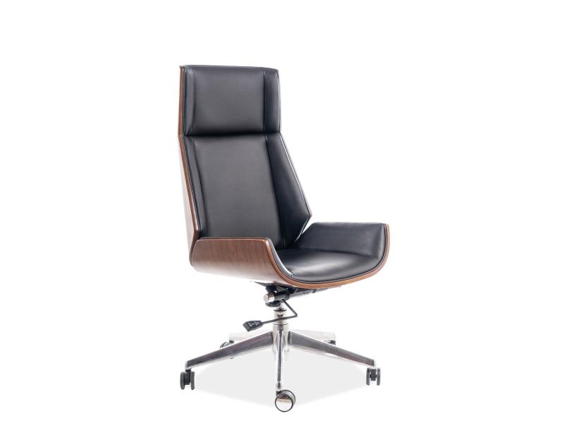 Scaun de birou ergonomic tapitat cu piele ecologica Maryland Negru / Nuc, l57xA49xH110-119 cm