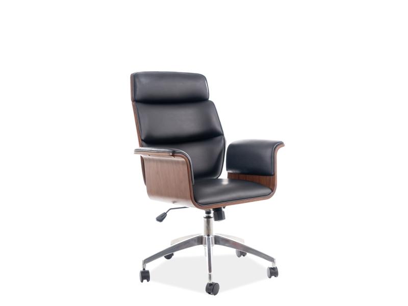 Scaun de birou ergonomic tapitat cu piele ecologica Oregon Negru / Nuc, l67xA43xH98-108 cm