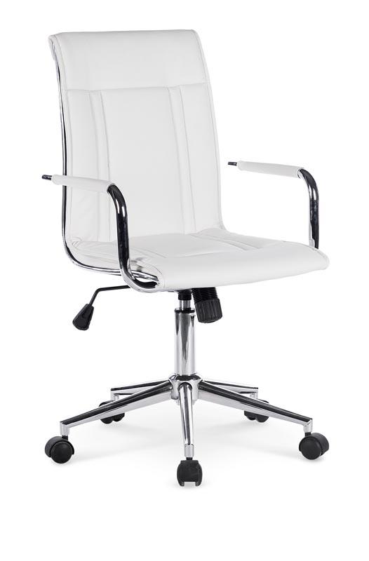 Scaun de birou ergonomic, tapitat cu piele ecologica Porto II White, l53xA57xH97-107 cm