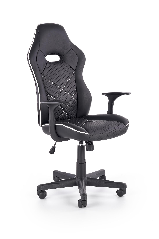 Scaun de birou ergonomic tapitat cu piele ecologica Rambler Negru / Alb l67xA72xH116-125 cm