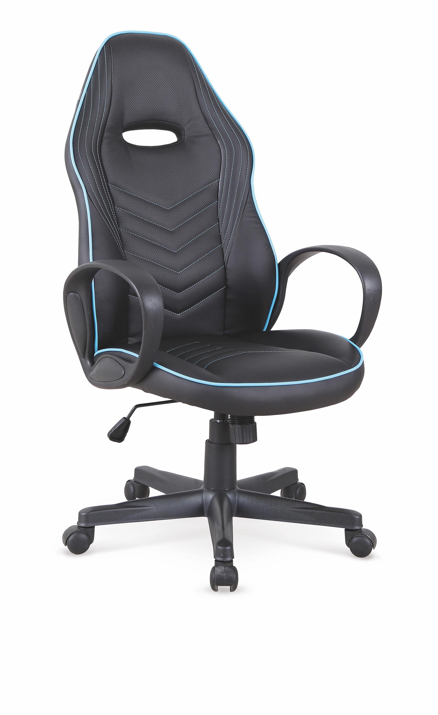 Scaun de birou ergonomic, tapitat cu piele ecologica Scoty Negru / Albastru, l62xA66xH111-121 cm