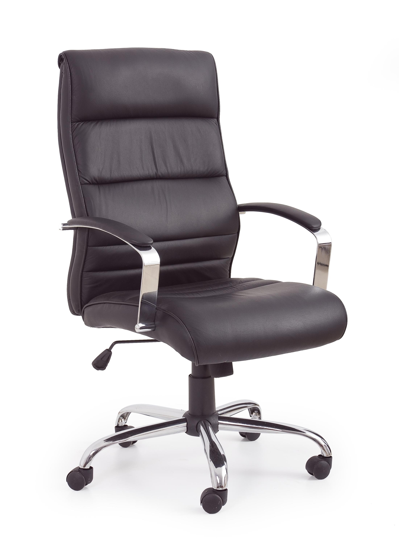 Scaun de birou ergonomic, tapitat cu piele ecologica Tiana Negru, l63xA75xH112-122 cm