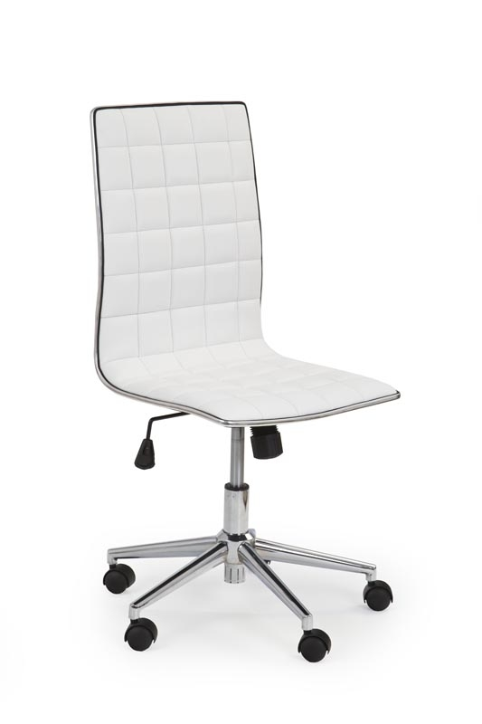 Scaun de birou ergonomic, tapitat cu piele ecologica Tirol Alb, l44xA46xH97-107 cm