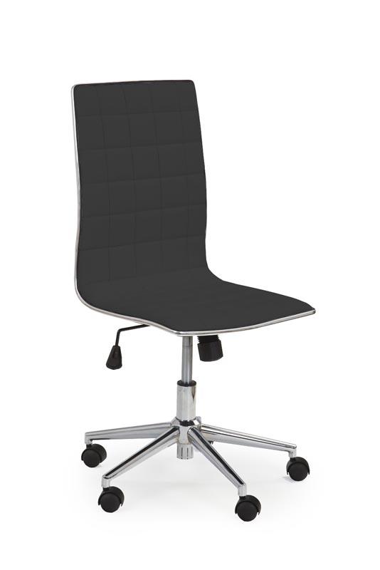 Scaun de birou ergonomic, tapitat cu piele ecologica Tirol Negru, l44xA46xH97-107 cm