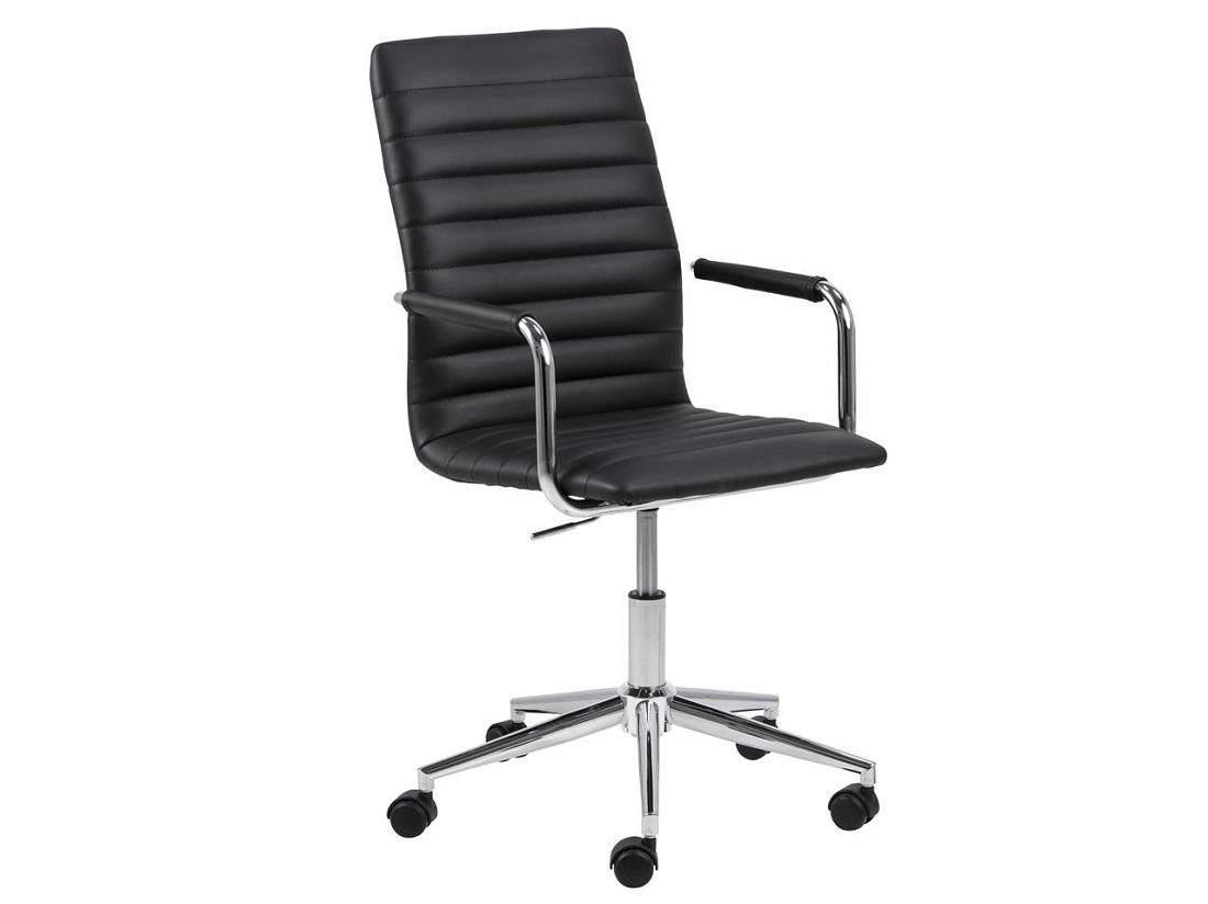 Scaun de birou ergonomic tapitat cu piele ecologica Winslow Negru, l45xA58xH103 cm imagine