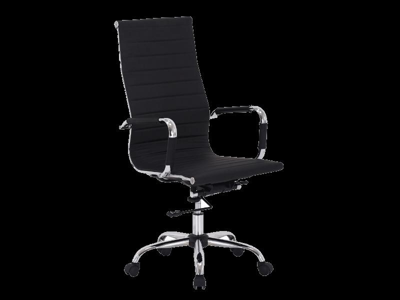 Scaun de birou ergonomic, tapitat cu piele ecologica Zion Negru, l55xA47xH108-116 cm
