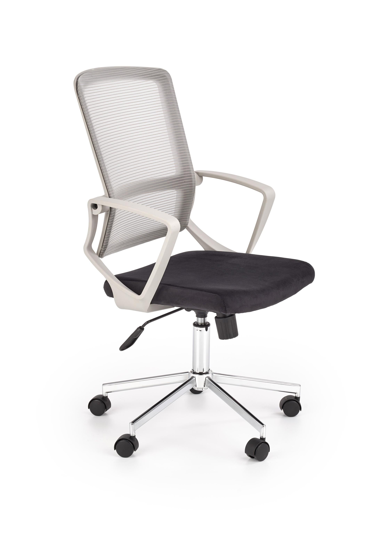 Scaun de birou ergonomic tapitat cu stofa Flicker Gri deschis / Negru, l57xA65xH99-110 cm