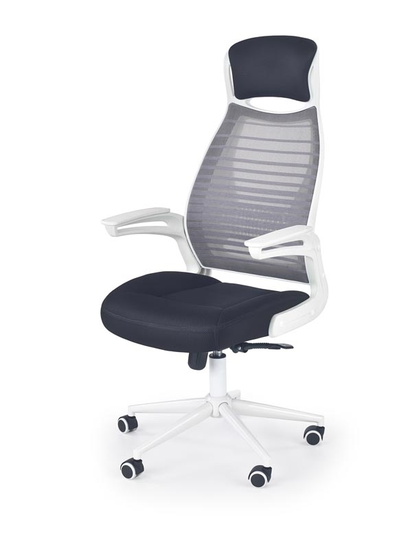 Scaun de birou ergonomic tapitat cu stofa Franklin Black / White / Grey, l62xA61xH116-124 cm poza
