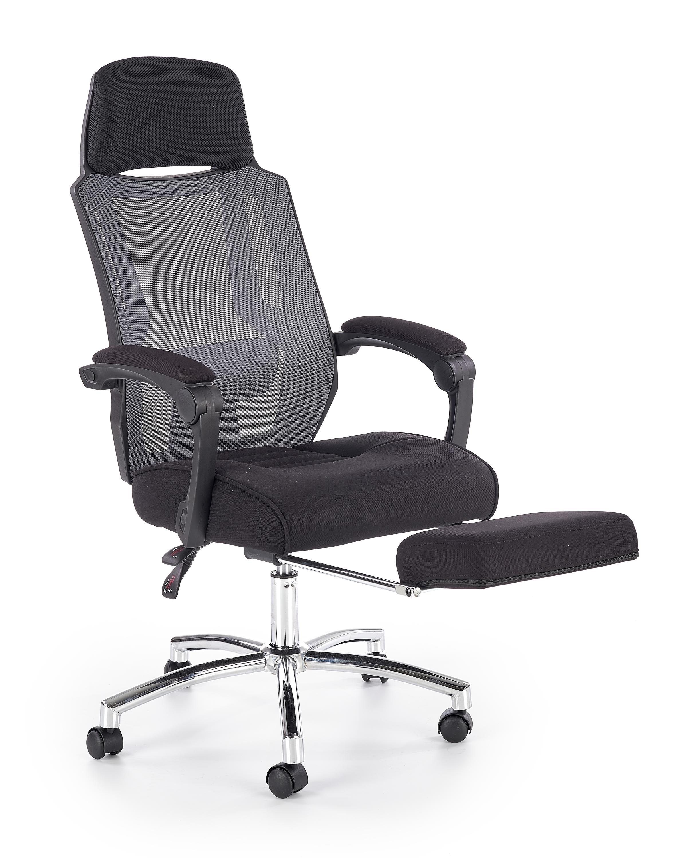 Scaun de birou ergonomic, tapitat cu stofa Freeman Negru / Gri, l61xA60xH116-123 cm