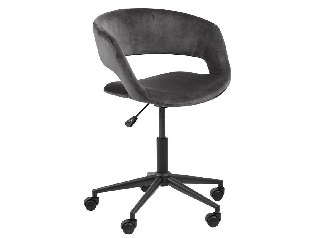 Scaun de birou ergonomic, tapitat cu stofa Grace Velvet Gri Inchis, l56xA54xH87 cm