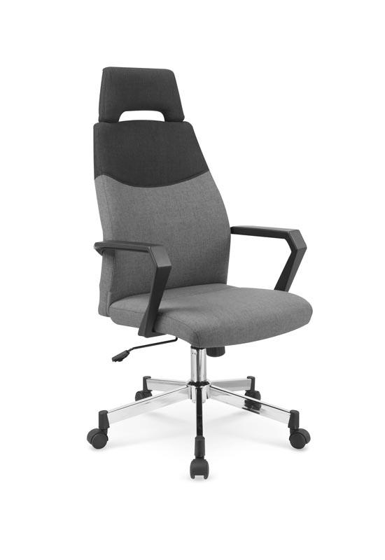 Scaun de birou ergonomic tapitat cu stofa Olaf Gri / Negru, l58xA59xH113-121 cm